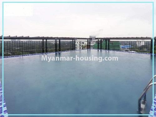 Myanmar real estate - for rent property - No.4614 - One bedroom Sein Lae Aung condominium room for rent in Yankin! - swimming pool view