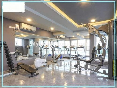 Myanmar real estate - for rent property - No.4614 - One bedroom Sein Lae Aung condominium room for rent in Yankin! - gym view