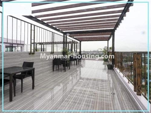 Myanmar real estate - for rent property - No.4614 - One bedroom Sein Lae Aung condominium room for rent in Yankin! - top floor relaxation area view