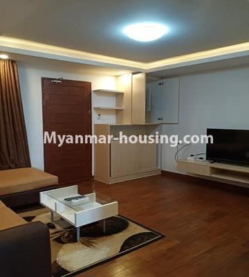 Myanmar real estate - for rent property - No.4615 - Two bedroom Sein Lae Aung condominium room for rent in Yankin! - living room view
