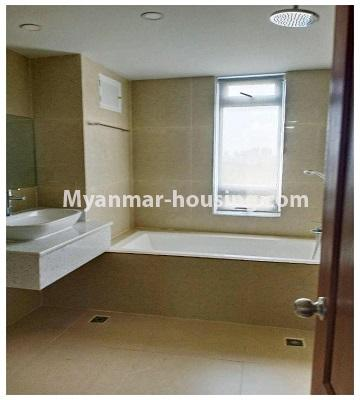 Myanmar real estate - for rent property - No.4615 - Two bedroom Sein Lae Aung condominium room for rent in Yankin! - master bedroom bathroom view