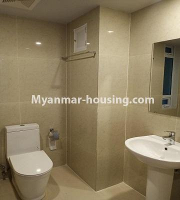 Myanmar real estate - for rent property - No.4615 - Two bedroom Sein Lae Aung condominium room for rent in Yankin! - common bathroom view