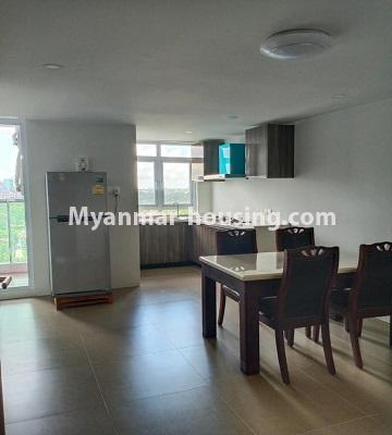 Myanmar real estate - for rent property - No.4615 - Two bedroom Sein Lae Aung condominium room for rent in Yankin! - dining area view and kitchen view