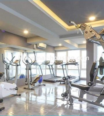 Myanmar real estate - for rent property - No.4615 - Two bedroom Sein Lae Aung condominium room for rent in Yankin! - gym view