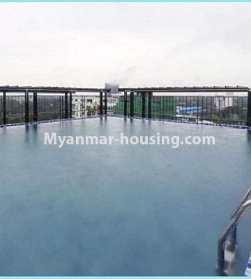 Myanmar real estate - for rent property - No.4615 - Two bedroom Sein Lae Aung condominium room for rent in Yankin! - swimming pool view