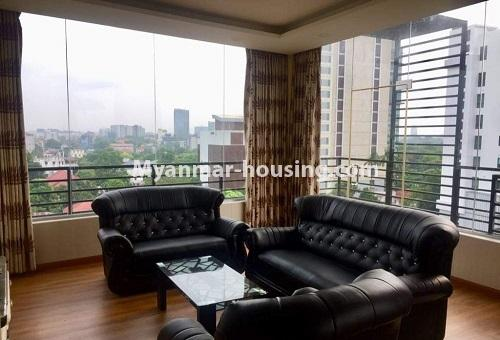 Myanmar real estate - for rent property - No.4617 - Pent House with a panoramic view for rent near Inya Lake! - living room view