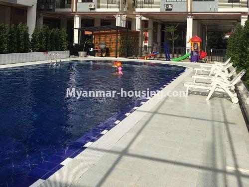 မြန်မာအိမ်ခြံမြေ - ငှားရန် property - No.4621 - အင်းစိန်တွင် အိပ်ခန်းနှစ်ခန်းပါသော ရိုင်ရယ်သီရီကွန်ဒိုခန်း ငှားရန်ရှိသည်။another view of swimming pool