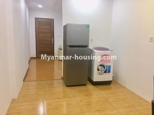 Myanmar real estate - for rent property - No.4741 - Furnished 2BHK Royal Thukha condominium for rent in Hlaing! - fridge and washing machine view