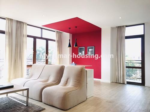 Myanmar real estate - for rent property - No.4742 - One bedroom serviced apartment for rent in Bahan! - living room view