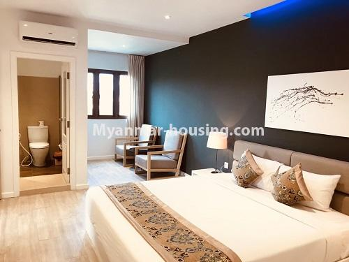 Myanmar real estate - for rent property - No.4742 - One bedroom serviced apartment for rent in Bahan! - bedroom view