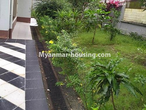 Myanmar real estate - for rent property - No.4823 - Two storey landed house for rent in Aung Chan Thar Housing, Thanlyin! - lawn view