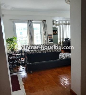 Myanmar real estate - for rent property - No.4846 - 2 BHK mini condominium room for rent near Hledan Junction, Kamaryut! - living room view