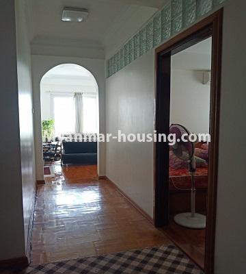 Myanmar real estate - for rent property - No.4846 - 2 BHK mini condominium room for rent near Hledan Junction, Kamaryut! - corridor view
