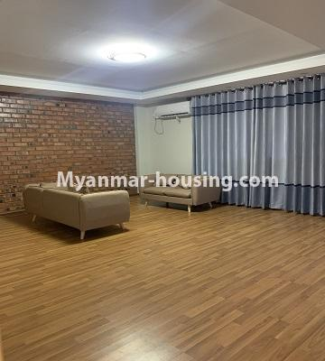 Myanmar real estate - for rent property - No.4847 - 2 BHK mini condominium room for rent in Kamaryut! - living room view