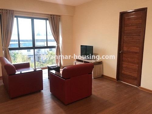 Myanmar real estate - for rent property - No.4884 - 2 BHK UBC condominium room for rent in Thin Gann Gyun! - living room view