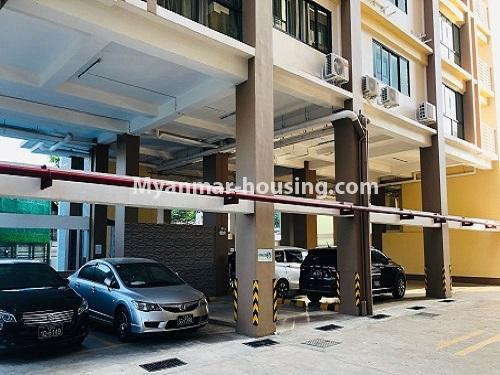 Myanmar real estate - for rent property - No.4884 - 2 BHK UBC condominium room for rent in Thin Gann Gyun! - car parking view