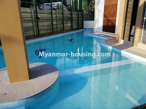 Myanmar real estate - for rent property - No.4884 - 2 BHK UBC condominium room for rent in Thin Gann Gyun! - swimming pool view