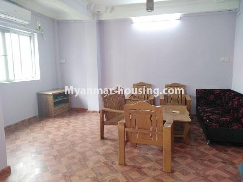 ミャンマー不動産 - 賃貸物件 - No.4886 - Yangon Downtown Furnished Condominium Room for Rent! - living room view