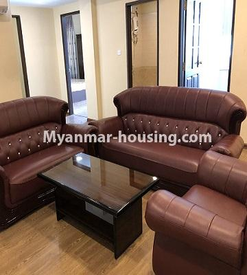 Myanmar real estate - for rent property - No.4892 - Decorated and furnished Aung Chan Thar Codominium room for rent in Yankin! - living room view