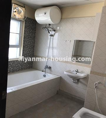 Myanmar real estate - for rent property - No.4892 - Decorated and furnished Aung Chan Thar Codominium room for rent in Yankin! - master bedroom bathroom view
