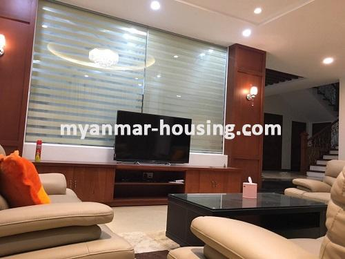 Myanmar real estate - for sale property - No.3025 - Three storey Landed House for sale in Hlaing Township. - View of the Living room