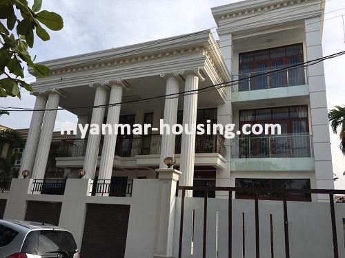 Myanmar real estate - for sale property - No.3025 - Three storey Landed House for sale in Hlaing Township. - View of the building