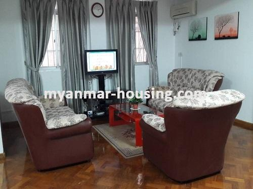 Myanmar real estate - for sale property - No.3092 - A wide space Condo room for sale in Yaw Min Gyi Condo  - View of the Living room