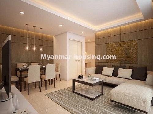 ミャンマー不動産 - 売り物件 - No.3253 - Condominium room for sale, 7  Mile, Mayangone Township - living room and dining area
