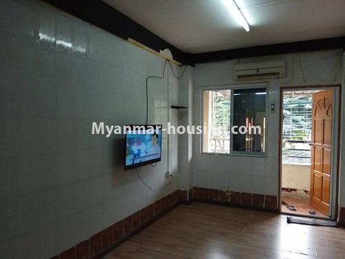 Myanmar real estate - for sale property - No.3258 - Apartment for sale in Yankin! - living room and main door