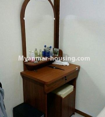 Myanmar real estate - for sale property - No.3295 - Decorated two bedroom condominium unit near Aung Zay Ya Bridge in Insein! - dressing table in master bedroom