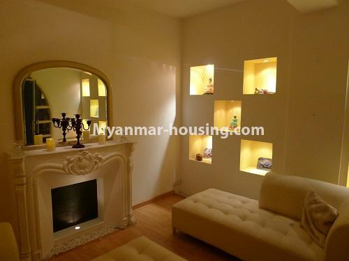 Myanmar real estate - for sale property - No.3296 - A Condominium room with full amenties for sale in Bahan! - another view of living room