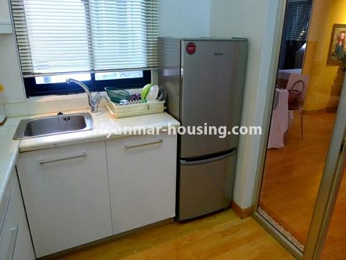 Myanmar real estate - for sale property - No.3296 - A Condominium room with full amenties for sale in Bahan! - another view of kitchen