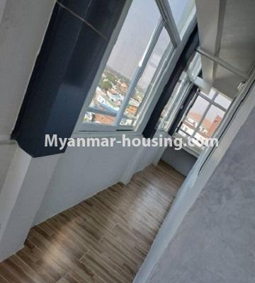 Myanmar real estate - for sale property - No.3297 - Top Floor Condominium room with nice view for Sale in the Thukha Street, Hlaing! - hallway between living place and outside