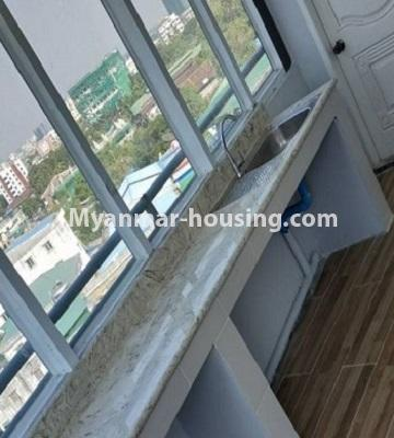 Myanmar real estate - for sale property - No.3297 - Top Floor Condominium room with nice view for Sale in the Thukha Street, Hlaing! - kitchen