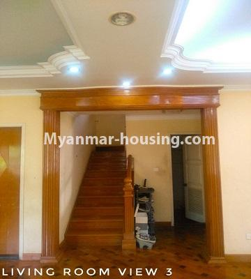 Myanmar real estate - for sale property - No.3302 - A house in a quiet and nice area for sale in Hlaing Thar Yar! - downstairs living room view and stairs