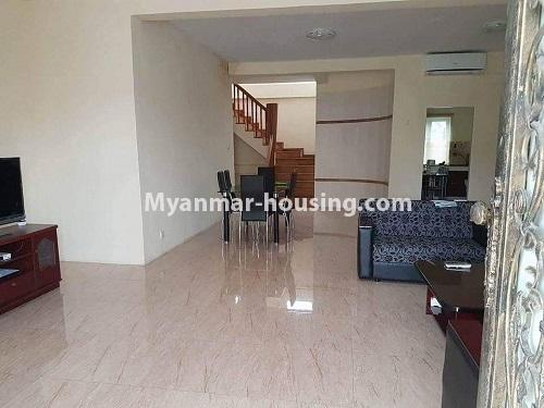 缅甸房地产 - 出售物件 - No.3314 - Two storey landed house with five bedrooms for sale in Nawaday Housing, Hlaing Thar Yar! - downstairs tiled flooring view