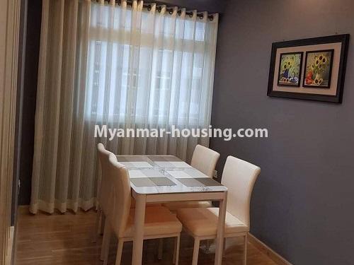 မြန်မာအိမ်ခြံမြေ - ရောင်းမည် property - No.3324 - ဒဂုံဆိပ်ကမ်း ဧရာချမ်းသာ ကွန်ဒိုတွင် အခန်းရောင်းရန် ရှိသည်။ - dining area