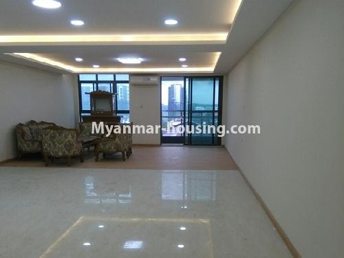 Myanmar real estate - for sale property - No.3346 - Grand Myakanthar Condominium room for sale in Hlaing! - living room view