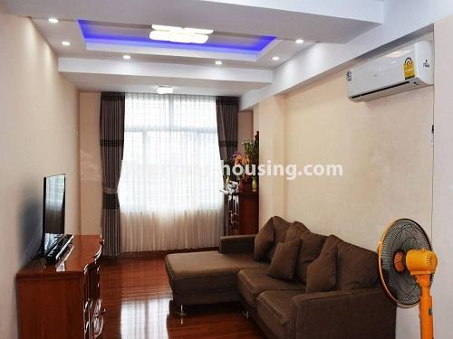 Myanmar real estate - for sale property - No.3351 - Newly Built Aung Chan Thar Condominium room for sale in Yankin! - living room view