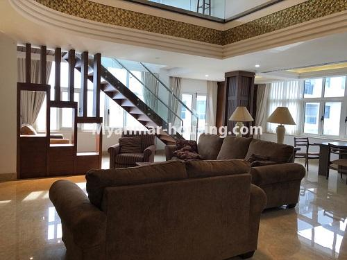 Myanmar real estate - for sale property - No.3355 - Duplex Golden Rose Condominium Penthouse for sale in Ahlone! - living room view downstairs