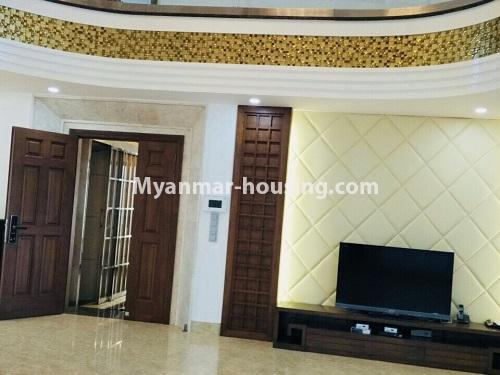 Myanmar real estate - for sale property - No.3355 - Duplex Golden Rose Condominium Penthouse for sale in Ahlone! - downstairs living room area