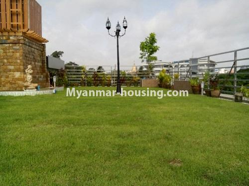 Myanmar real estate - for sale property - No.3360 - Nice Villa close to Kandawgyi Lake for sale in Bahan. - top floor lawn view