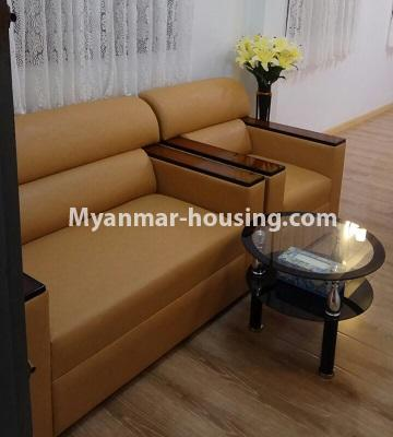 Myanmar real estate - for sale property - No.3364 - Decorated first floor apartment room for sale in Hlaing! - living room view
