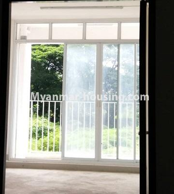 Myanmar real estate - for sale property - No.3387 - Two bedroom condominium room for sale in Botahtaung Time Square! - living room area and balcony view