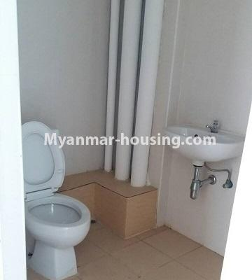 Myanmar real estate - for sale property - No.3387 - Two bedroom condominium room for sale in Botahtaung Time Square! - toilet view