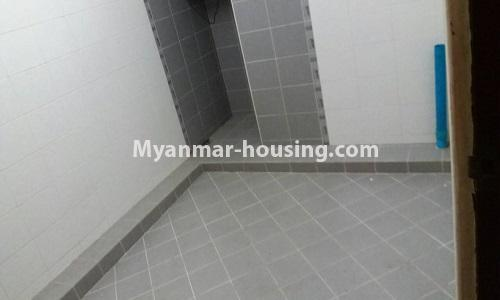 Myanmar real estate - for sale property - No.3389 - Pent house with the panoramic view for sale in Yankin! - washing machine area and toilet view