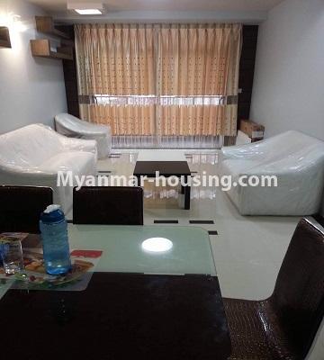မြန်မာအိမ်ခြံမြေ - ရောင်းမည် property - No.3390 - သန်လျင်တွင် ပြင်ဆင်ပြီး အိပ်ခန်းသုံးခန်းနှင်ပရိဘောဂပါသော ကွန်ဒိုခန်း ရောင်းရန်ရှိသည်။ - another view of living room