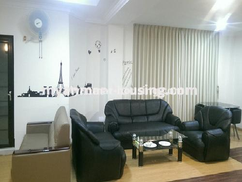 Myanmar real estate - for sale property - No.3399 - Well-decorated Bagayar Condominium room for sale in Sanchaung! - living room view