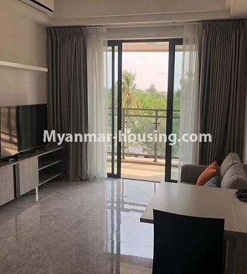 Myanmar real estate - for sale property - No.3418 - Two bedroom Golden City Condominium room for sale in Yankin! - living room view