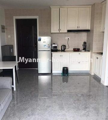 Myanmar real estate - for sale property - No.3418 - Two bedroom Golden City Condominium room for sale in Yankin! - kitchen view